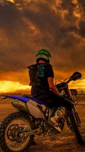 Preview wallpaper motorcyclist, motorcycle, sunset