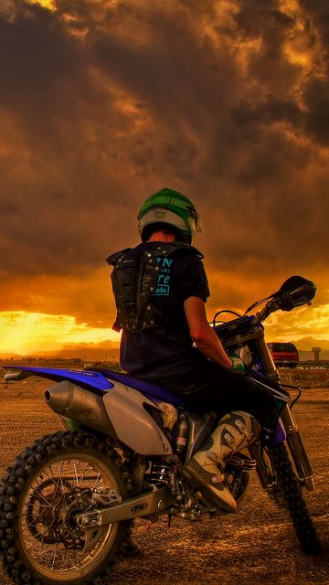 360x640 Wallpaper motorcyclist, motorcycle, sunset