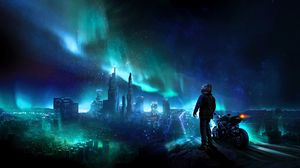 Preview wallpaper motorcyclist, night, starry sky, art