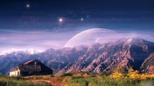 Preview wallpaper mountain, house, planet