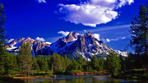 Preview wallpaper mountain, peak, summit, forest, summer, lake, day, landscape