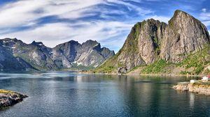 Preview wallpaper mountain, sky, lake, summer