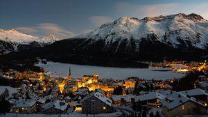 Preview wallpaper mountain, winter, village, snow, light, switzerland