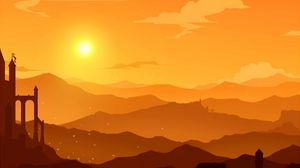 Preview wallpaper mountains, vector, sunset, hills