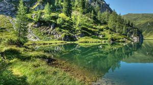 Preview wallpaper mountains, grass, sky, lake