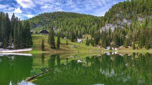 Preview wallpaper mountains, lake, reflection, trees
