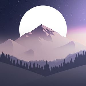 Preview wallpaper mountains, moon, forest, night, starry sky, vector, flat