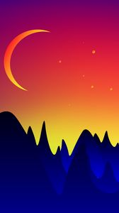 Preview wallpaper mountains, moon, landscape, vector