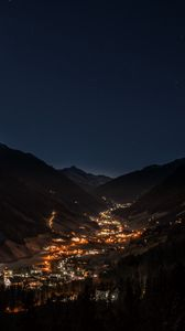 Preview wallpaper mountains, night, building, sky