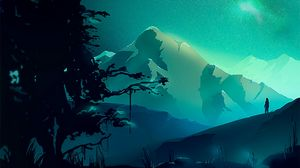 Preview wallpaper mountains, night, northern lights, landscape, art