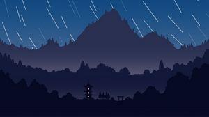 Preview wallpaper mountains, pagoda, night, starry sky, dark, art