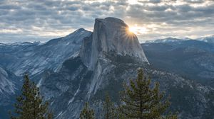Preview wallpaper mountains, peak, trees, light, dawn, yosemite valley, united states