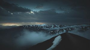 Preview wallpaper mountains, peaks, fog, twilight, clouds, height
