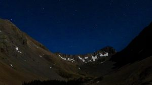 Preview wallpaper mountains, relief, lake, starry sky, night