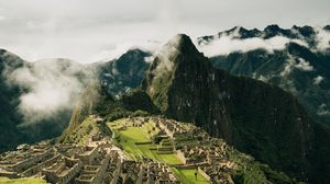 Preview wallpaper mountains, ruins, buildings, aguas calientes, peru