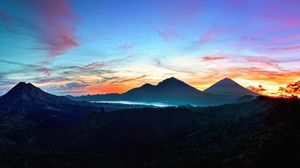 Preview wallpaper mountains, sky, bali, sunrise, kintamani, indonesia