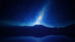 Preview wallpaper mountains, starry sky, milky way, night