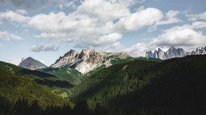 Preview wallpaper mountains, summer, grass, clouds
