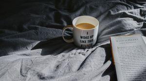 Preview wallpaper mug, coffee, book, morning