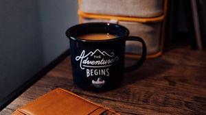 Preview wallpaper mug, inscription, black, coffee