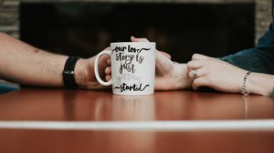 Preview wallpaper mug, inscription, text, hands, love
