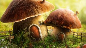 Preview wallpaper mushroom, house, door, art