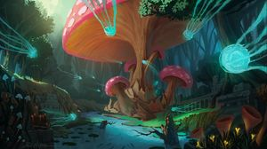Preview wallpaper mushrooms, tree, jellyfish, fantasy, art