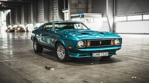 Preview wallpaper mustang, ford, 1973, hangar, front view