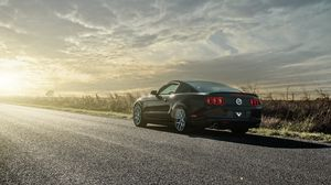 Preview wallpaper mustang, gt, cars, road, light, rear view