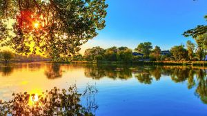 Preview wallpaper nature, river, light, trees