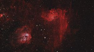 Preview wallpaper nebula, space, red, stars, glow