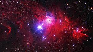 Preview wallpaper nebula, stars, glare, space, red