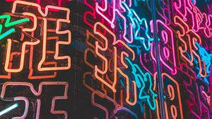 Preview wallpaper neon, backlight, letters, shapes