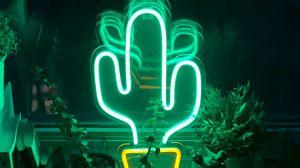 Preview wallpaper neon, cactus, flowers, light, green