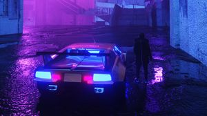 Preview wallpaper neon, car, silhouette, street, night