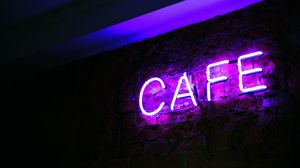 Preview wallpaper neon, inscription, cafe, letters, illumination