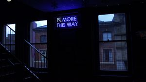 Preview wallpaper neon, inscription, wall, window, staircase