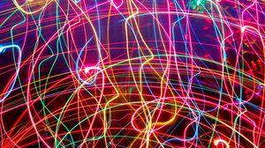 Preview wallpaper neon, lines, plexus, light, bright