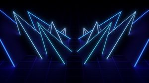 Preview wallpaper net, neon, shape, pointed, dark, blue