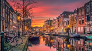Preview wallpaper netherlands, holland, canal, river, buildings
