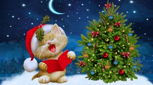 preview wallpaper new year christmas cat card