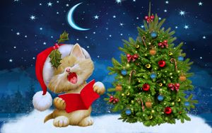 Preview wallpaper new year, christmas, cat, card