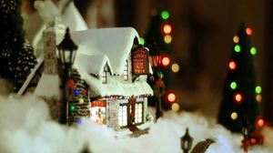 Preview wallpaper new year, christmas, ornament, house, snow, cosiness