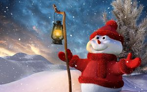 preview wallpaper new year christmas snowman lamp tree snow smiling