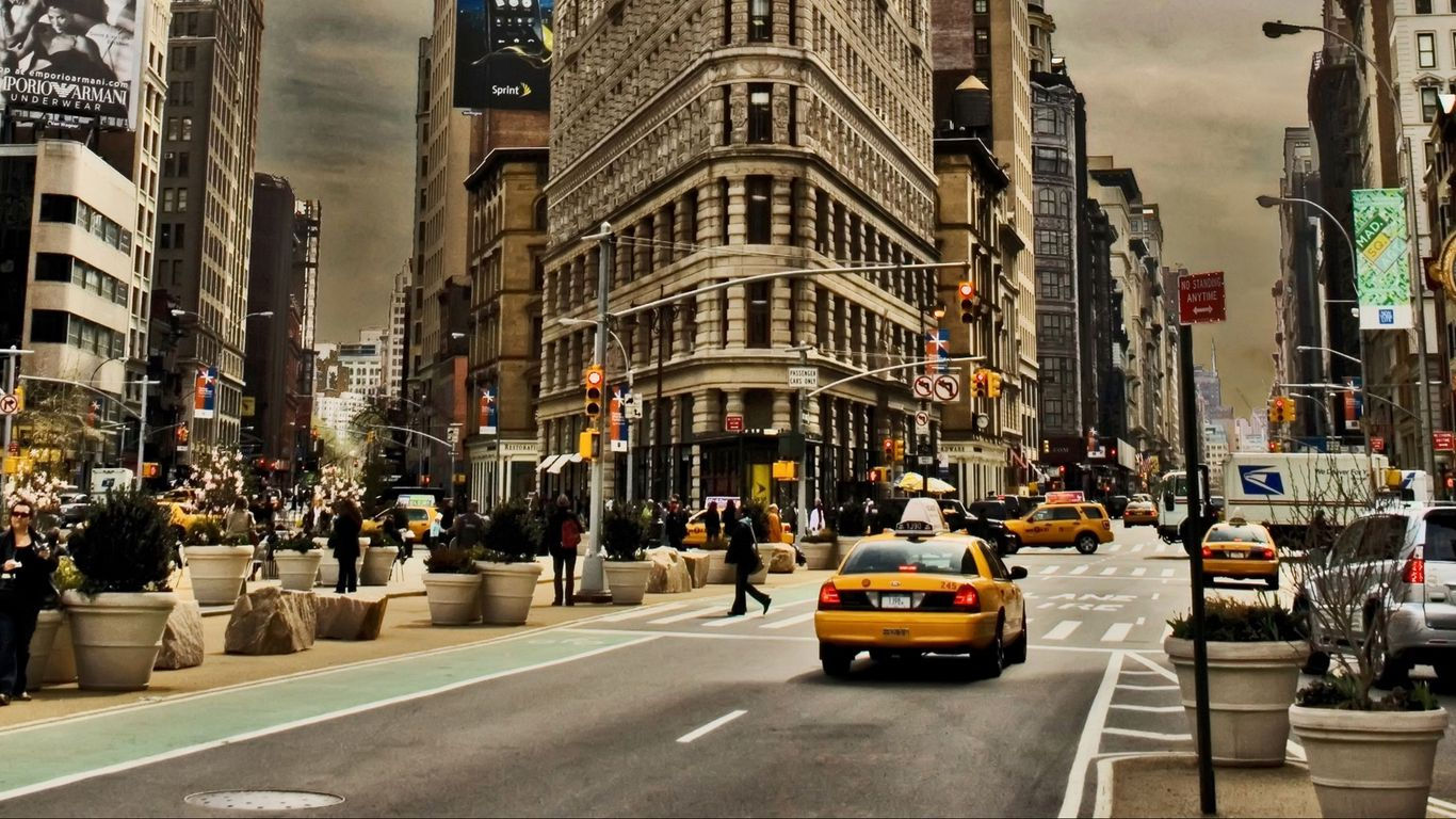 1366x768 Wallpaper new york, city, building, street, cars, traffic