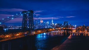 Preview wallpaper new york, usa, night city, bridge