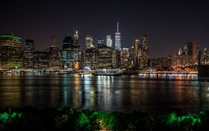 Preview wallpaper new york, usa, night city, panorama, skyscrapers