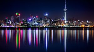 Preview wallpaper new zealand, panorama, skyscrapers, buildings, shore, lighting