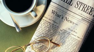 Preview wallpaper newspaper, coffee, cup, spoon, sunglasses, news, cup holder