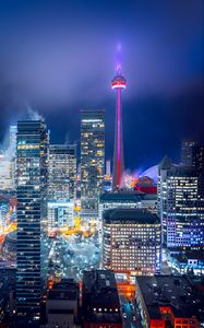 Preview wallpaper night city, aerial view, buildings, lights, bright, toronto